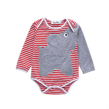 Baby Triangle Romper Red Striped Cool Elephant Boys Girls One-Piece Romper Elephant Striped Romper for Spring Autumn Clothes one amazing elephant
