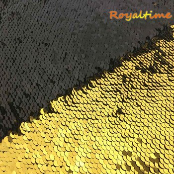 Royaltime Double Face Sequins Fabric For Handbags Garments DIY Tissue Sewing Fabric Material Craft Making Accessories-Gold/Black image