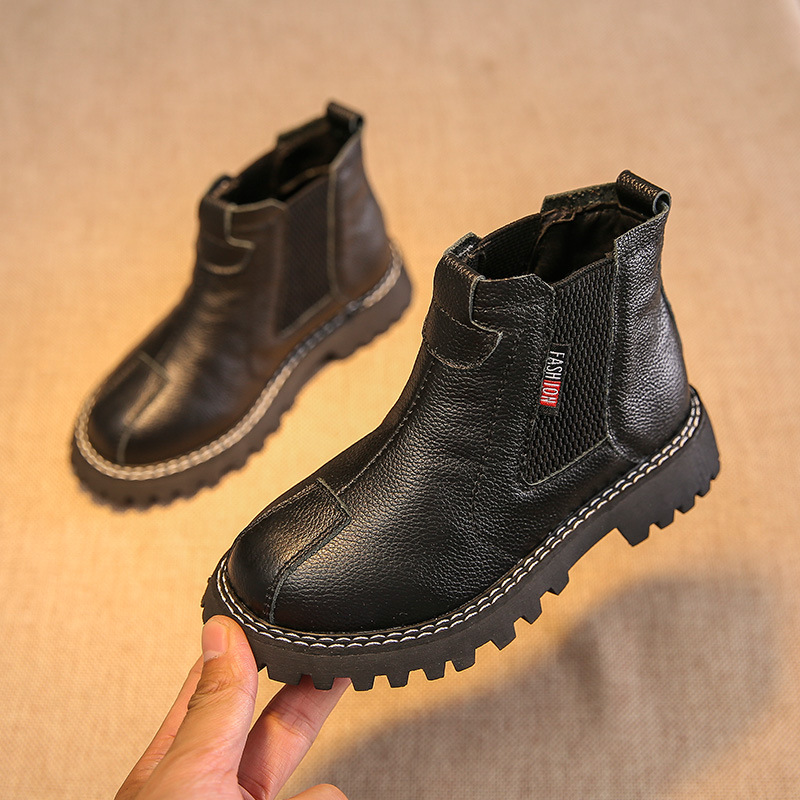 2019 New Kids Genuine Leather Shoes Boys Formal Sneakers Spring Autumn Boys Children Cowhide Shoes Boys Boots Kids Boots  27-37