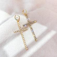 FYUAN Cross Crystal Rhinestone Drop Earrings for Women Fashion Pearl Dangle Earrings Dinner Party Jewelry Gifts 2020 summer elegant pearl drop earrings for women fashion big pendant statement freshwater pearl earrings party jewelry gifts