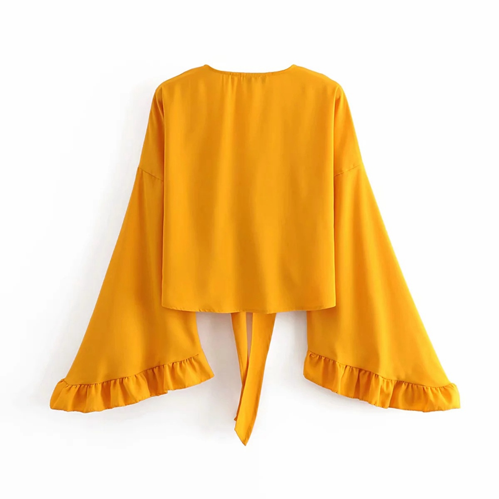 Sexy V Neck Bow Tie Cross Top Summer Yellow Long Sleeve T Shirt