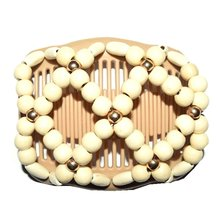 Fashion Professional Wooden HairComb Ladies Magic Beads Elasticity Double Clip Bead String Clamp Stretchy Hair Combs Accessories
