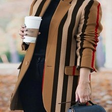 Woolen Coat Oversized Plaid Printed Fashion Autumn Striped Women's Long-Sleeved NEW And