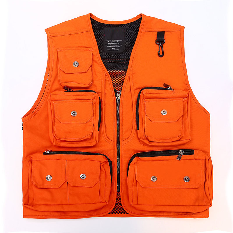 Orange Multi Pocket Waistcoat Photography Director Reporter Outdoor Worker Advertising Fishing Men's Canvas Vest