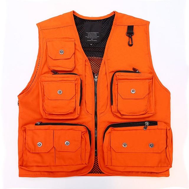 Orange Multi Pocket Waistcoat Photography Director Reporter Outdoor Worker Advertising Fishing Mens Canvas Vest