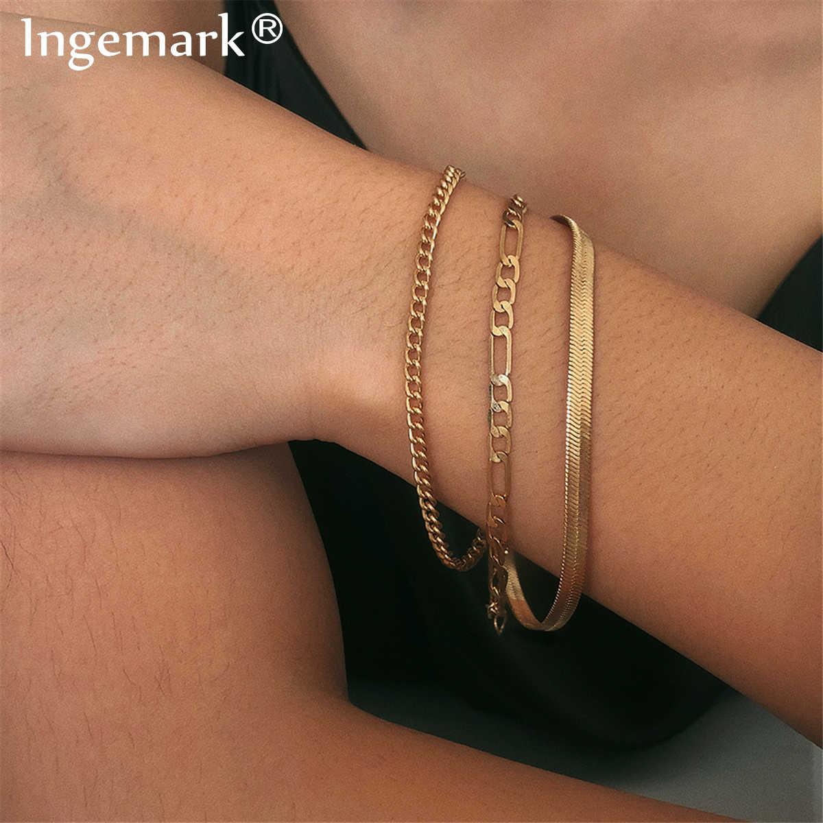 Alta qualidade boho cobra corrente pulseira para mulheres braçadeira punk multi camada heavy metal grosso pulseira de corrente casal jóias
