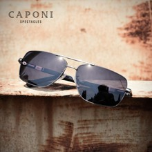 CAPONI Square Mens Sunglasses Photochromic Metal Frame Driving Men Glasses Anti Glare UV Filter Polarized Sun Glasses  BS8724