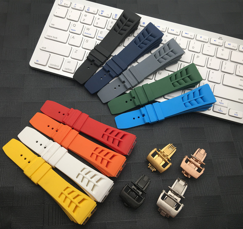 Screw Connection Imported Nature Colorful Silicone Rubber 20mm Watchband For Richard Watch Mille Strap Band Butterfly Buckle