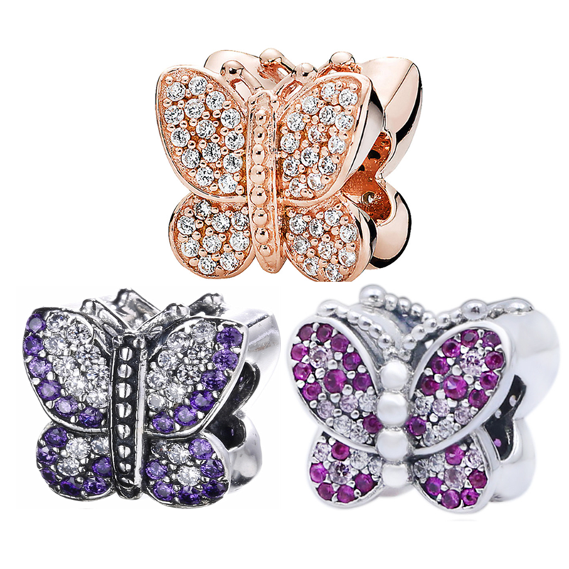 Real 925 Sterling Silver CZ Pendant Beads Dazzling Rosegold Pave Crystal Butterfly Flying Charm Fit Pandora Bracelet DIY Jewelry