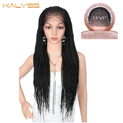 Kalyss 31 inches 13x5 Hand Braided Wigs for Black Women Synthetic Lace Front Wig Frontal Natural Black Braids Cornrow Wigs Hair