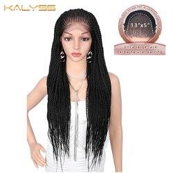 Kalyss 31 inches 13x5 Hand Gevlochten Pruiken voor Zwarte Vrouwen Synthetische Kant Frontale Natuurlijke Zwarte Vlechten cornrow Pruiken Haar