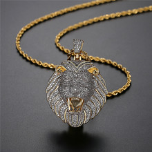 Iced Out Lion Head Pendant Pave Cubic Zircon Luxury Animal Necklace Bling Hip Hop Designer Jewelry For Men Gift