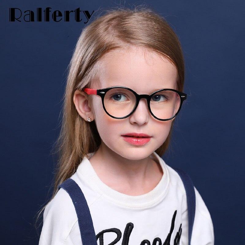 Ralferty Flexible Silicone Kids Glasses Child Blue Light Glasses Round Vintage Pink Grade Prescription No Diopter Glasses K8217