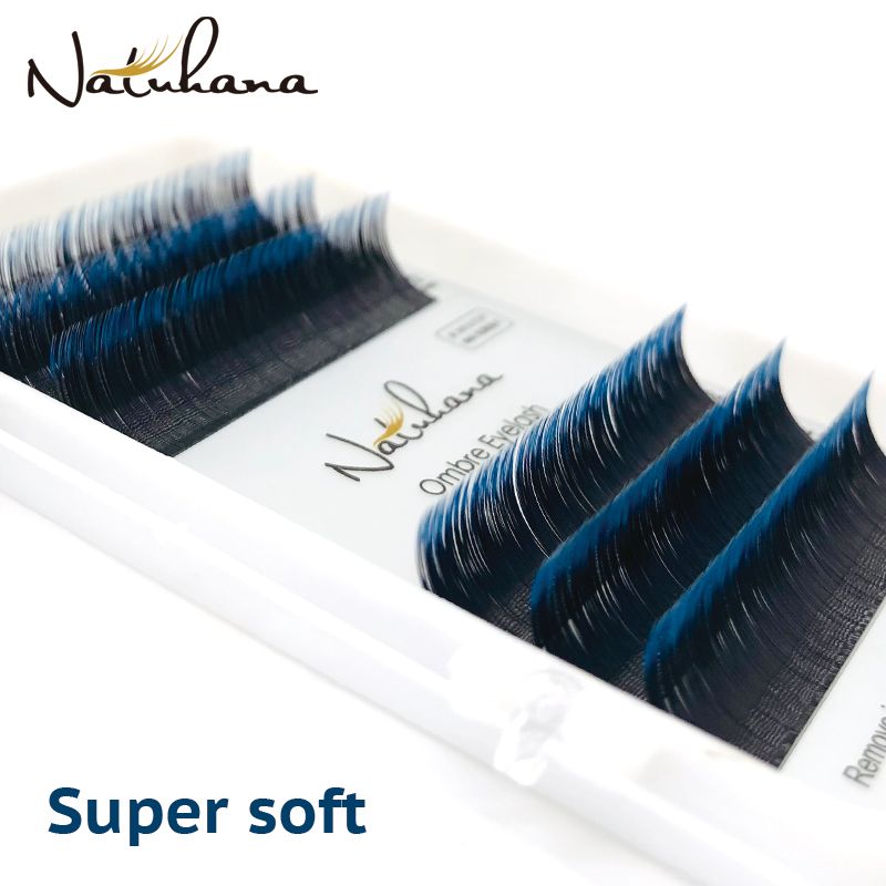 NATUHANA Individual Faux Mink Eyelashes Extension Ombre Natural Lash Blue Color False Lashes Premium Soft Salon Makeup Tools
