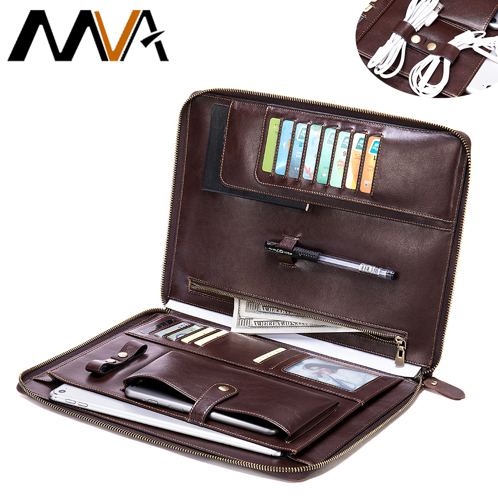 MVA Men Clutch Bags Crazy Horse Genuine Leather Padfolio Business Portfolio Holder Organizer With Zippered Card Pen Slot 7326(China)