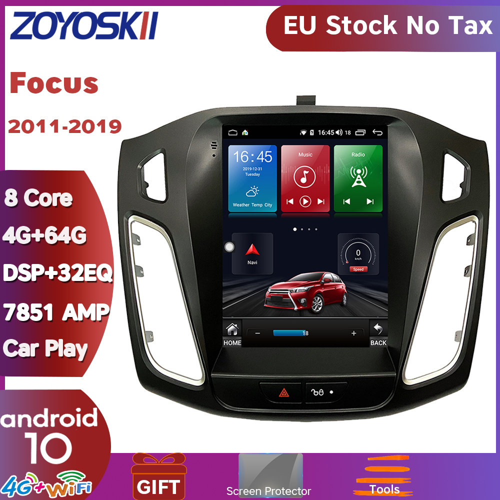 EU Stock ZOYOSKII Android 10 Vertical Screen Car Gps Multimedia Radio Navigation Player For Ford Focus 3 Mk 3 Salon 2012-2018