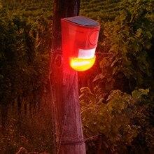 Солнечная звуковая сигнальная вспышка Предупреждение звук и свет сигнализация датчик движения 110 децибелы сирена стробоскоп охранная сигнализация для фермы