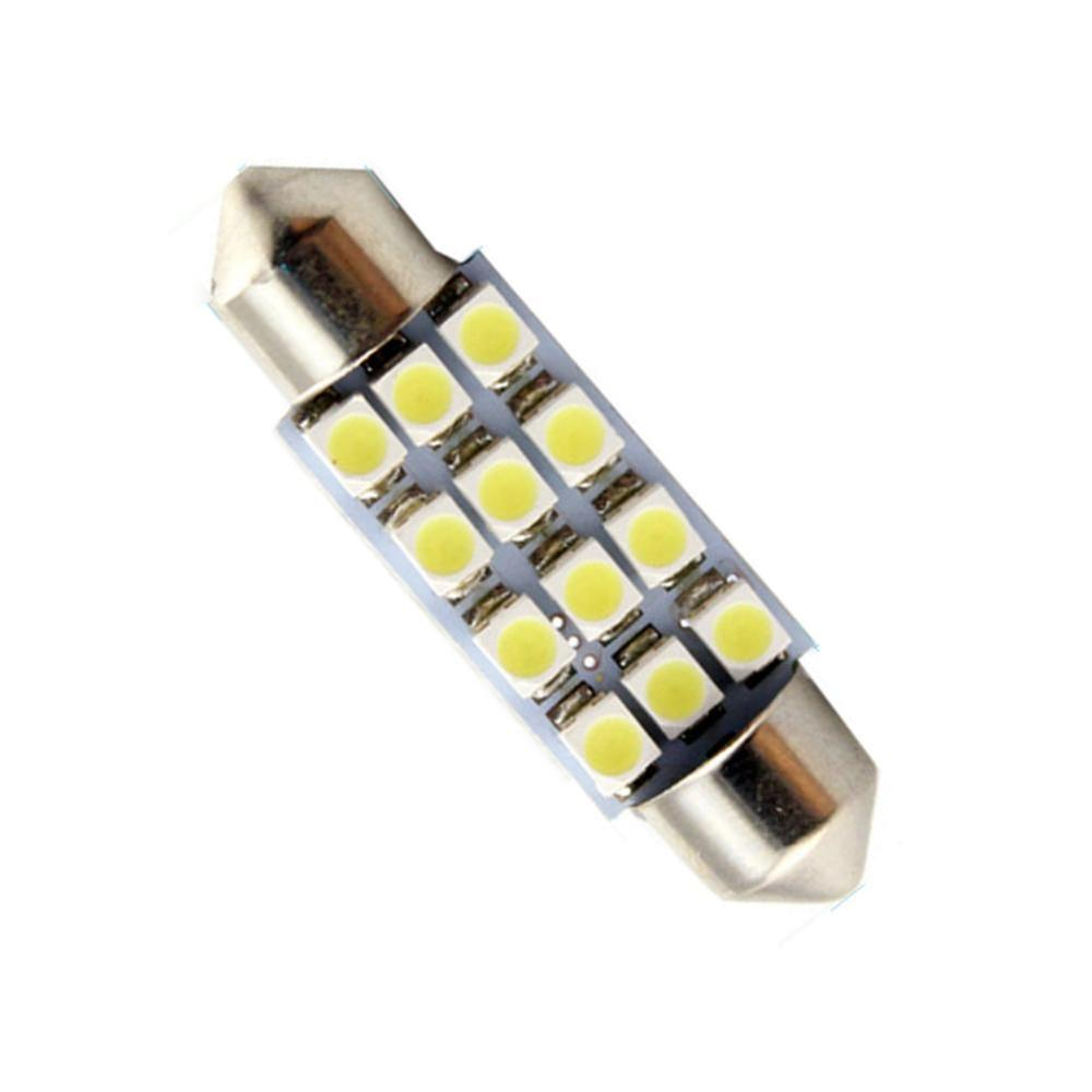 4pcs Hotsale White 12smd 41mm Festoon Dome <font><b>12</b></font> <font><b>SMD</b></font> LED 1210/3528 Car Interior Bulb Light Lamp 12led for Parking Corner Tail Lamp image