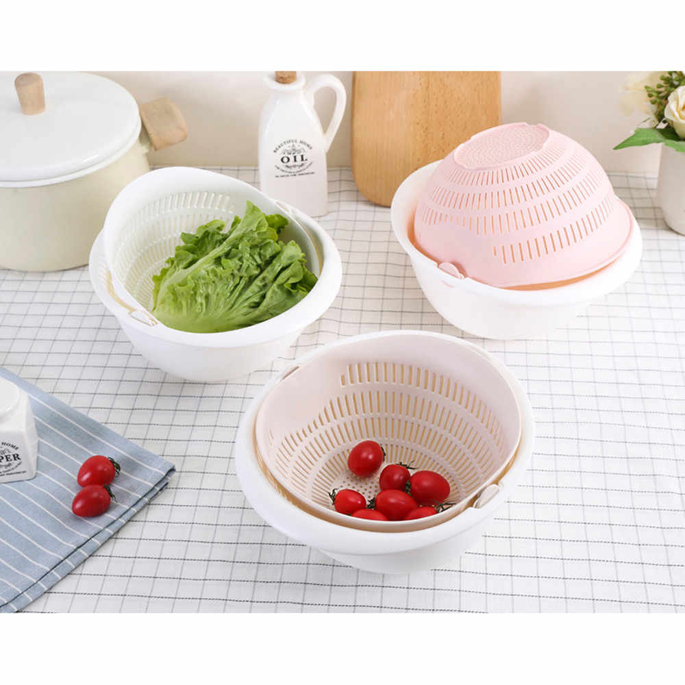 Double couche Drain panier séparation conception stockage panier PP matériel lavage fruits panier pour accessoires de cuisine panier de rangement