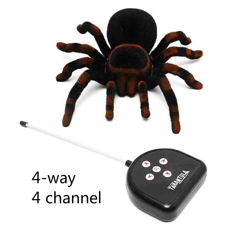 RC Spider Eye Shine Halloween Simulation Scary Plush Creepy Tarantula Remote Control Tricky Cockroach Soft Prank Lizard Kid Toy