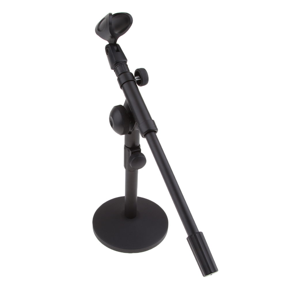 Black Adjustable 13inch Lengh Heavy Base And Iron Shaft Desktop Mic Stands With Microphone Clip Holder