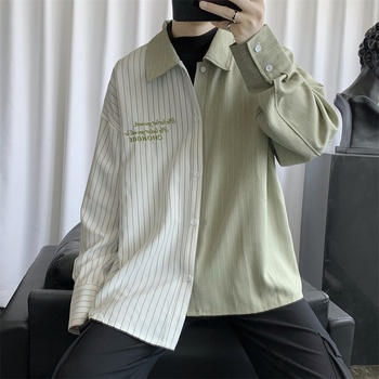Men Tops Korean Fashion Clothing for Mens Loose Fit Oversized Vertical Striped Dress Shirts Asymmetric Design Long Sleeve Shirts asymmetric long sleeve top