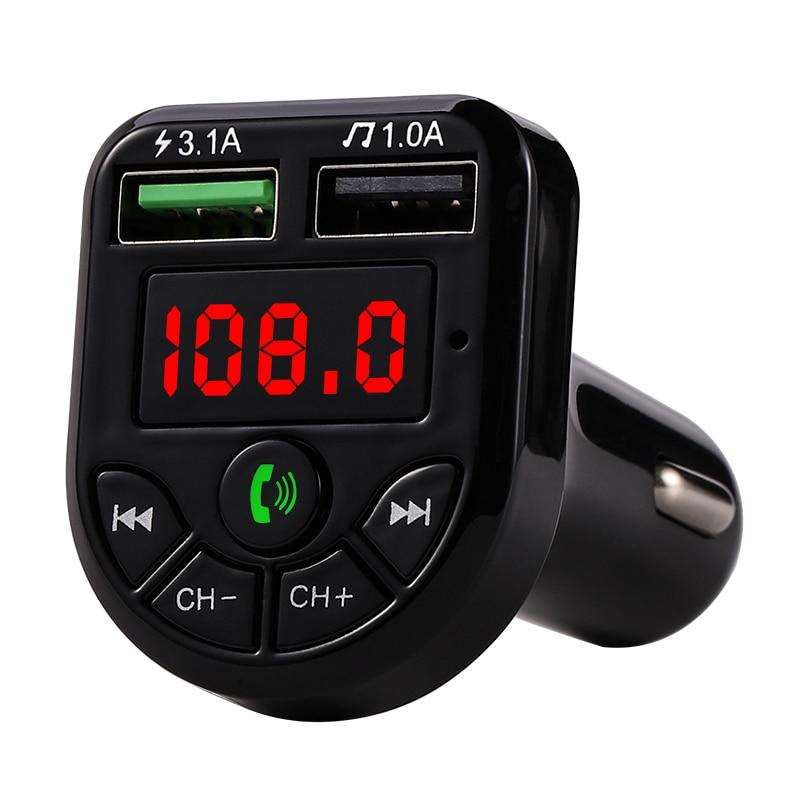 2 portas usb mp3 player de música para o iphone para o disco de u do carro/tf o jogo duplo do carro de bluetooth 5.0 do transmissor de fm do diodo emissor de luz usb carregador de carro 3.1a 1a