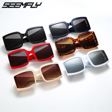 Seemfly Sunglasses Men Women Retro Big Square Frame Oversized Sun Glasses Fashion Eyewear Shades UV400 Mirror Oculos De Grau New