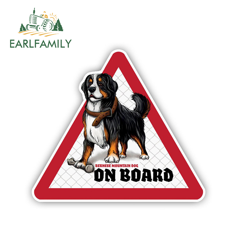 EARLFAMILY 12cm X 10.5cm Bernese Mountain Dog Car Sticker Dog On Board Decals Pet Dog In A Car Decal Dog Warning Sign