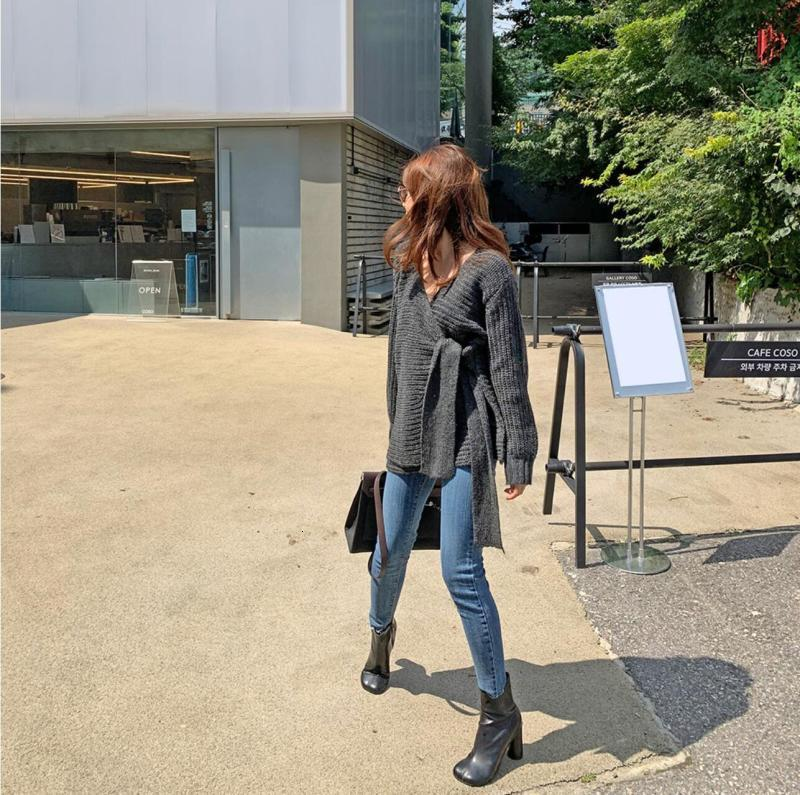 SuperAen Fashion Sweater Coat Female Korean Style New 19 Autumn and Winter Wild Ladies Sweaters Solid Color Women Knit Tops 6