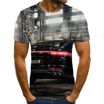 2020 new car pattern T-shirt, 3D men's T-shirt, casual sports T-shirt, round neck T-shirt, men's large street wear stripe pattern round neck stitching design t shirt in black