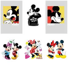 6Pcs Mickey Nero Vestiti Bello Silhouette di Trasferimento di Calore di Patch Decorazione Adesivi Termici Distintivo(China)