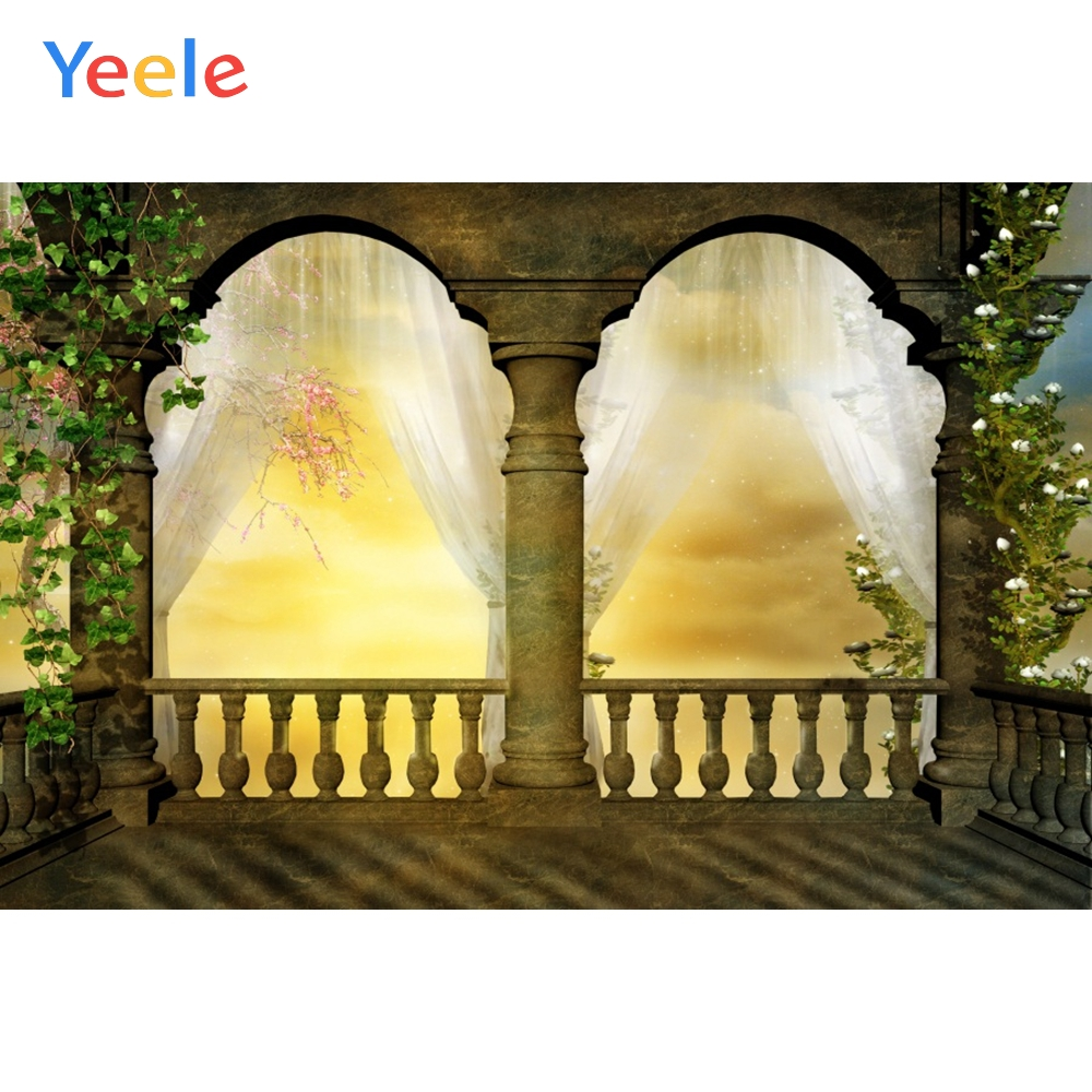 Grunge Retro Pavilion Arch Door Curtain Wedding Kid Portrait Photo Backdrop Customized Photographic Backgrounds For Photo Studio