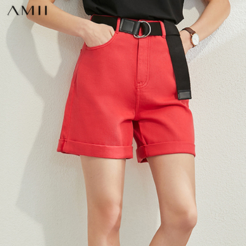 AMII Minimalism Spring Summer Fashion Sloid Denim Shorts Women Causal High Waist Loose Zipper Female Shorts  12020167