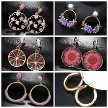 2019 Fashion Simple luxury round earrings women's fashion Korean style flower hollow mesh drop earrings statement jewelry(China)