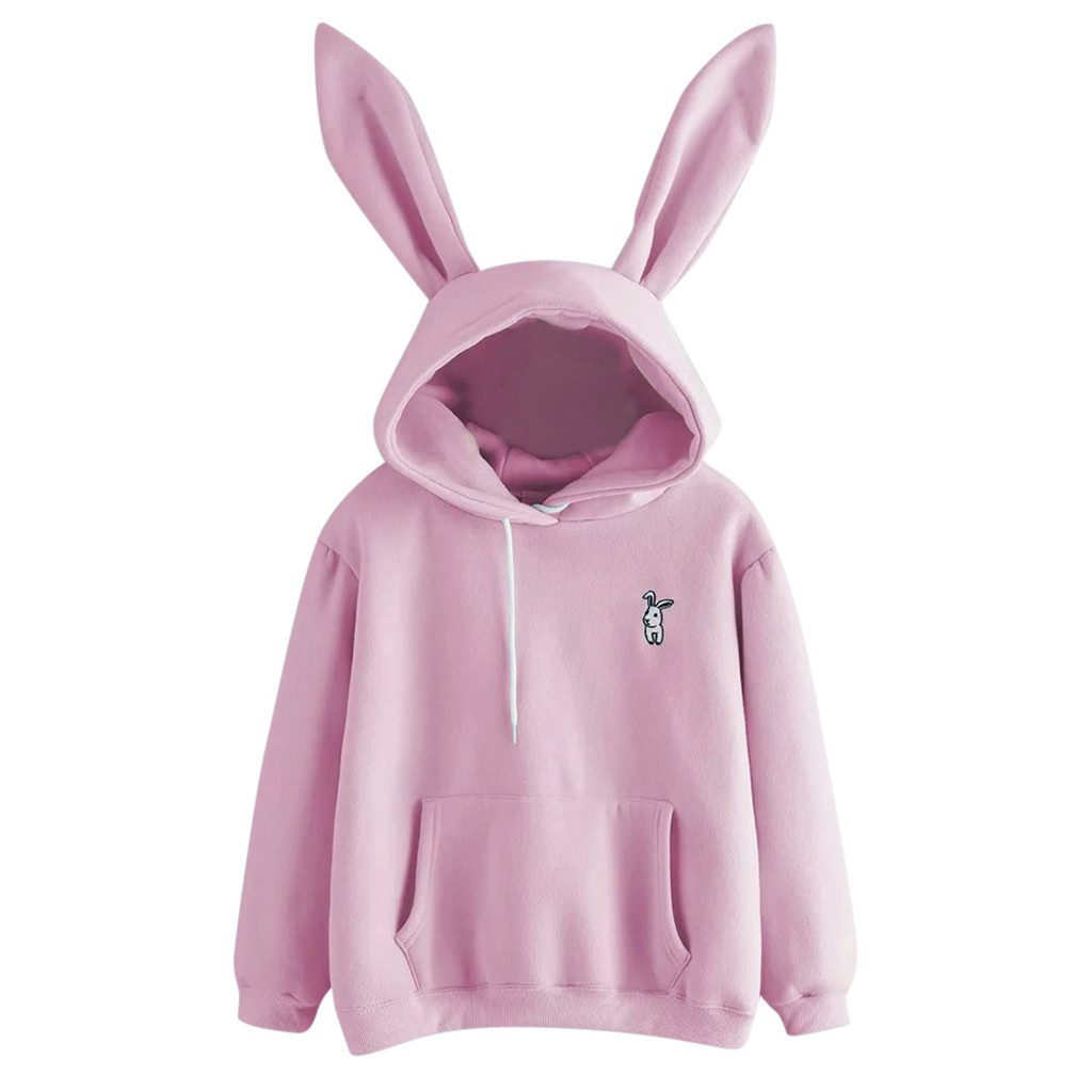 Hoodies Women Long Sleeve Soild Thick Winter Sweatshirt Yellow Pullover Tops Blouse Cute Rabbit Ears Pink Hoody Black Clothes #D