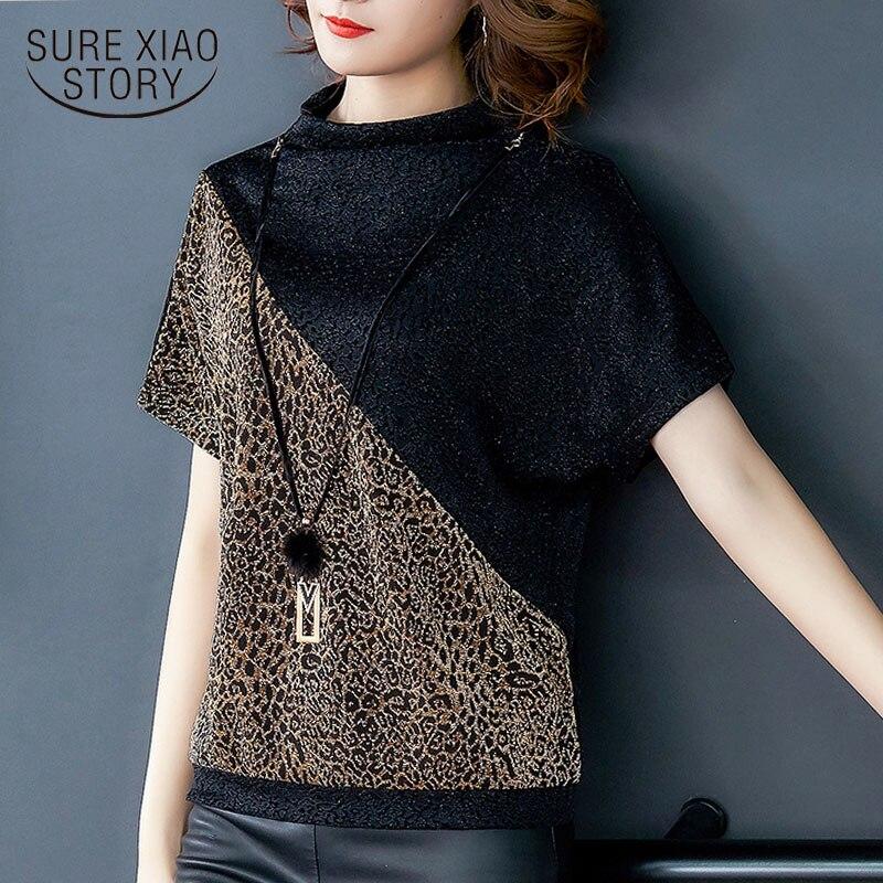 Korean fashion clothing 2020 ladies tops Leopard O-Neck short sleeve shirt women tops blusas shirts plus size women 8498 50