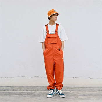 MORUANCLE Men's Hip Hop Bib Overalls Loose Fit Cargo Jumpsuits For Man Baggy Suspender Pants Fashion Streetwear With Pockets