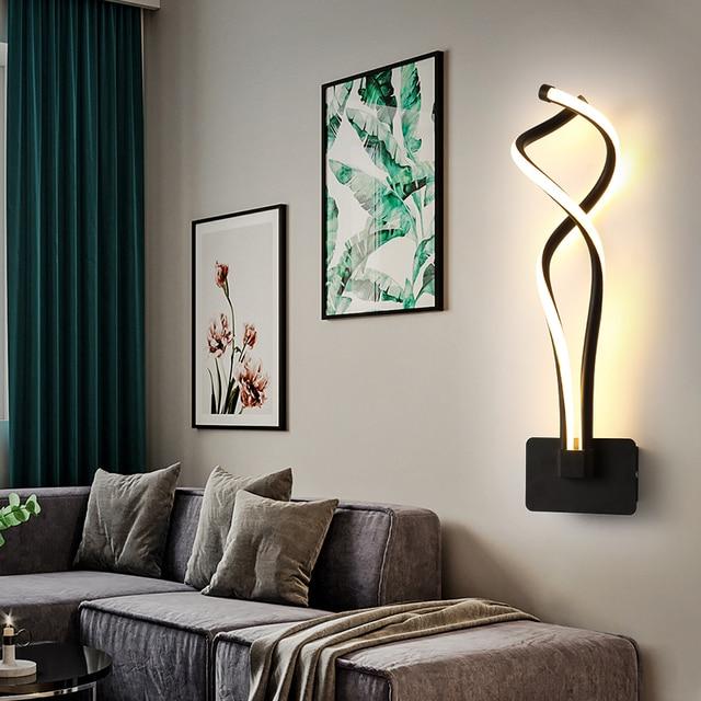Wall Lamp Living Room Bedroom Bedside Black Nordic Sconce Aisle Corridor Modern LED Wall Light Decor Indoor Lighting Fixtures 3