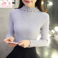 Gestrickte Solide Frauen Pullover Und Perlen Oansatz Langarm Pullover Sueter Mujer Tops Winter Casual Koreanische Jumper