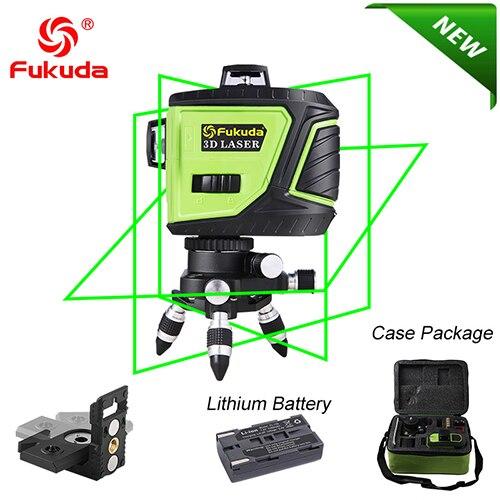 Fukuda бренд 12 линий 3D MW93T-3GX лазерный уровень самонивелирующийся 360 горизонтальный и вертикальный крест супер мощный зеленый лазерный луч - Цвет: 93T-Green3GJ-BRACKET