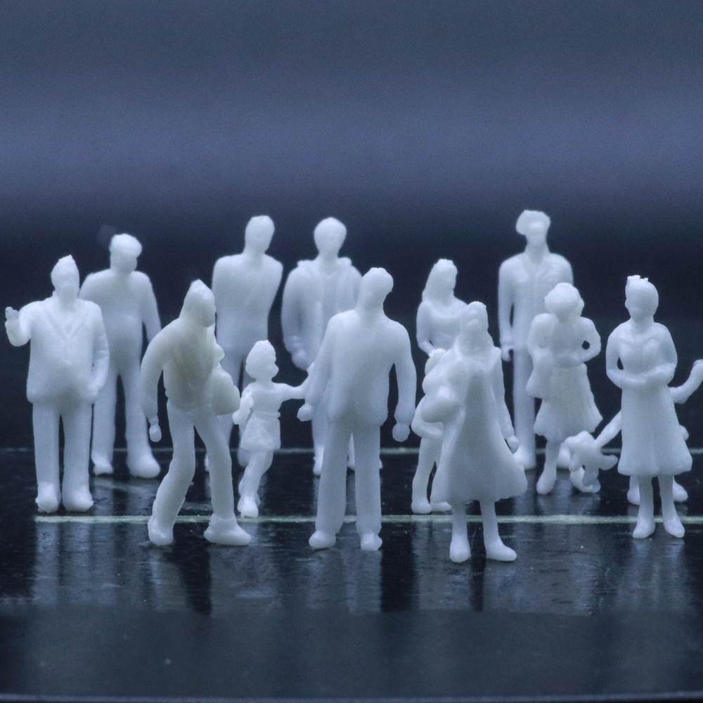 Baoblaze 100 Pieces Model Train Architectural 1:50 UnPainted Figures Scale Standing Person Model Railway Layout