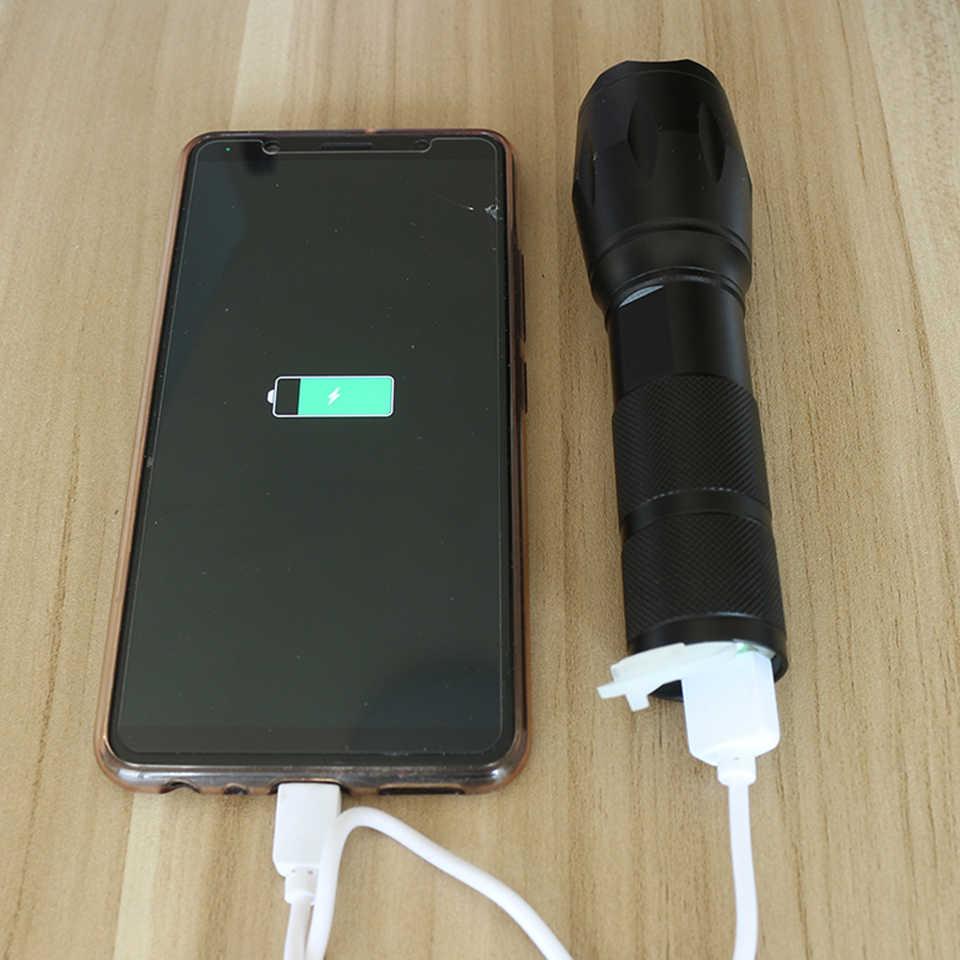 8000 lúmenes XM-L2 XM-L T6 banco de energía LED linterna antorcha 3 modos interruptor zoom lente integrada en batería recargable para camping
