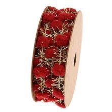 Glitter Tinsel Pom Pom Wire Ribbon Metallic Garland DIY Gift Wrapping Decoration Y3NE