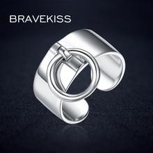 BRAVEKISS из чистого 925 пробы серебра, регулируемые кольца для женщин, Круглый Круг, очаровательное болтающееся кольцо, подвеска, широкое кольцо, браслет BLR0323