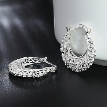 925 Silver Weave Hollow Moon Hoop Earring For Women Fashion Silver Jewelry
