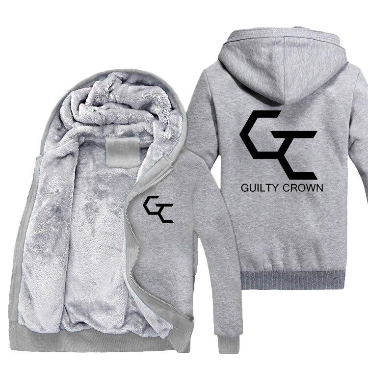 Couronne coupable cosplay sweatshirt à capuche épais coton veste à glissière Manteau D'anime d'hiver À Capuche Pour Hommes Femmes