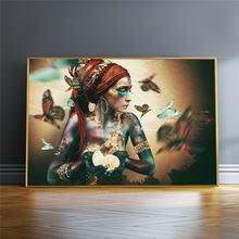 Африканская женщина с бабочкой на стене искусство красочные
