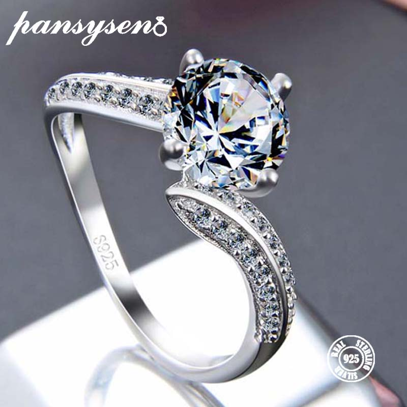 Ring Silver Jewelry Wedding S925-Sterling-Silver Wholesale Women Original Crystal 7mm