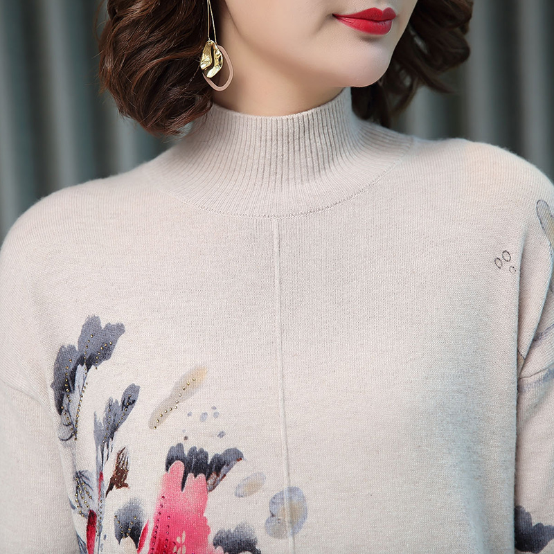 Women Autumn Cashmere Vintage Floral Sweater Elegant Middle Aged Mother Wool Sweater Pullover - 4